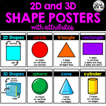 2D and 3D SHAPE POSTERS with attributes