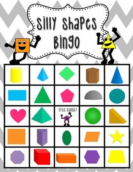 2D and 3D Shape Bingo -25 Pre-Made Cards