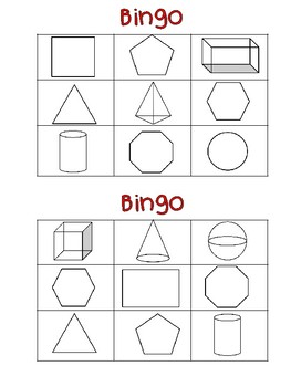 2D and 3D Shape Bingo