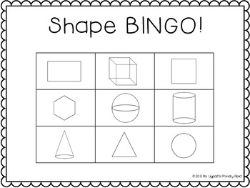 Shape Bingo (for 2-D and 3-D shapes) by Learning At The ...