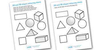 2D and 3D Shape Colouring Sheets