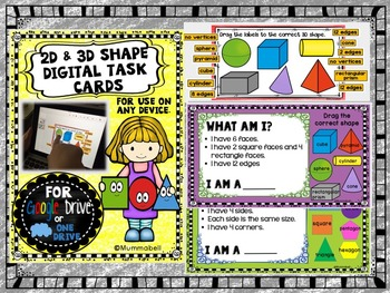 2D and 3D Shape Digital Task Cards - DIGITAL Google Drive resource