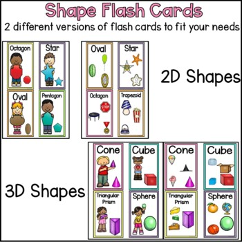 2D and 3D Shape Flash Cards