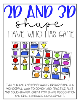 2D and 3D Shape I Have Who Has Game