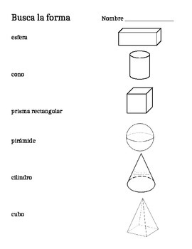 2D and 3D Shape Match Up - English and Spanish