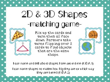 2D and 3D Shape Matching Game