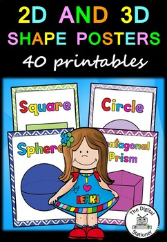 Shape Posters - 36 posters bundle (2D & 3D) - Maths (Geometry)