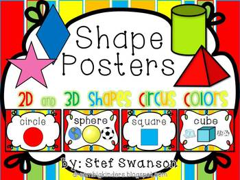 Shape Posters 2D and 3D  {Circus Colors}