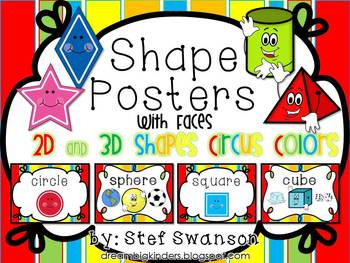 Shape Posters 2D and 3D {Circus Colors} with Faces