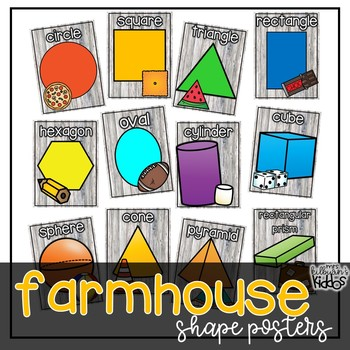 2D and 3D Shape Posters {Farmhouse Theme}