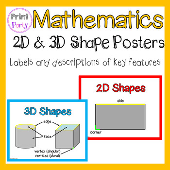 2D and 3D Shape Posters Flash Cards | Labels of key features and terms