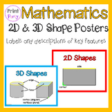 2D and 3D Shape Posters Flash Cards | Labels of key featur