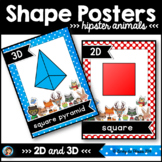 2D and 3D Shape Posters Hipster Animals Classroom Decor