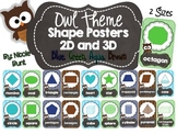 2D and 3D Shape Posters Owl Theme (Blue, Green, Aqua, Brown)