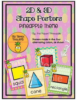 2D and 3D Shape Posters (Pineapple Theme)