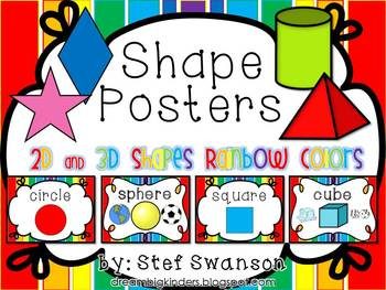 Shape Posters 2D and 3D {Rainbow Colors}