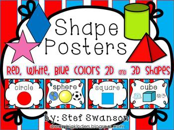 Shape Posters 2D and 3D {Red, White, Blue Colors}