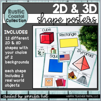 2D and 3D Shape Posters (Rustic Coastal Farmhouse)
