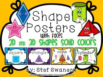 Shape Posters 2D and 3D {Solid Colors} with Faces
