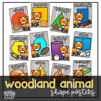 2D and 3D Shape Posters {Woodland Animal Theme}