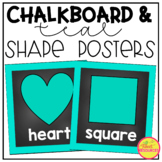 2D and 3D Shape Posters in a Chalkboard and Teal Classroom Theme