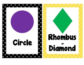 2D and 3D Shape Posters~Black and Yellow Polka Dot Theme