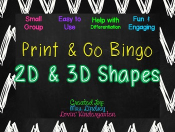 2D and 3D Shape Small Group Bingo