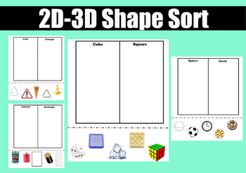 Difference Between 2d And 3d Worksheets & Teaching Resources
