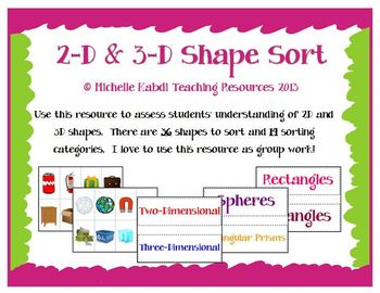 2D and 3D Shape Sort - Classifying Shapes - Assessment Idea Included