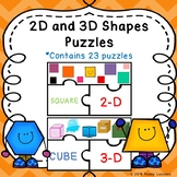 2D and 3D Shape Sort Game Kindergarten Shapes Puzzles K.G.3