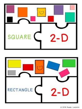 2D and 3D Shape Sort Game Kindergarten Shapes Puzzles K.G.3