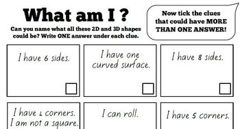 2D and 3D Shape Challenge Worksheet Review Activity