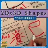 2D 3D Shapes Worksheets