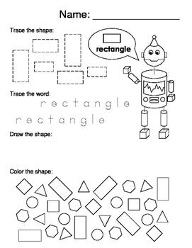 2D and 3D Shape Worksheets
