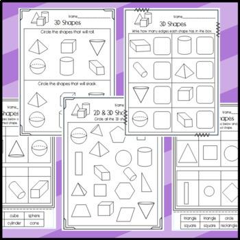 2D and 3D Shape Worksheets: Shape Attributes, Halves, Fourths, Names of Shapes