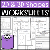 2D and 3D Shape Worksheets: Shape Attributes, Halves, Fourths, Names of Shapes