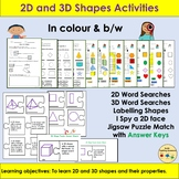 Shapes 2D and 3D Shapes, Word Searches, Cut/Paste Puzzles, Activities - YR/KS1