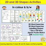 2D and 3D Shapes, Word Searches, Cut/Paste Puzzles, Activi