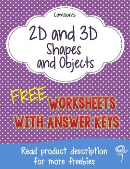 2D and 3D Shapes  Worksheets with Answer Keys