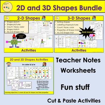 2D and 3D Shapes Activities, Word Searches, Sort, Count, Trace & Color BUNDLE