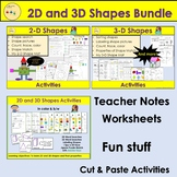2D and 3D Shapes Activities, Word Searches, Sort, Count, T