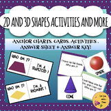 2D and 3D Shapes Center Activities, Anchor Charts, Answer Sheet, and Riddles!