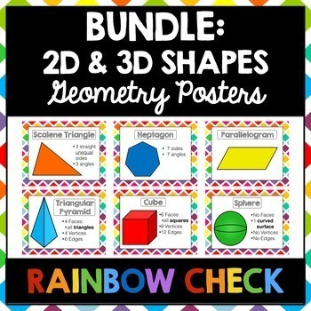 2D and 3D Shapes Poster BUNDLE   Rainbow Check