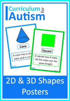 2D 3D Shapes Posters, Autism, Special Education, Math by ...