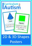 2D 3D Shapes Posters Autism Special Education