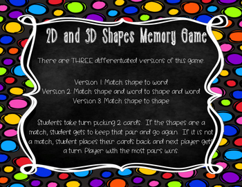 2D and 3D Shapes Differentiated Memory Game