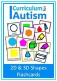 2D 3D Shapes Autism Special Education Flash Cards