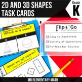 2D and 3D Shapes- Kindergarten Math Tasks Cards