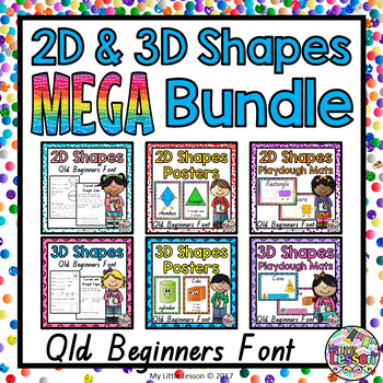 2D and 3D Shapes MEGA Bundle QLD Beginners Font: Worksheets, Posters, Playdough