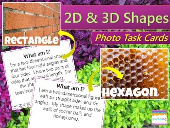 2D and 3D Shapes Task Cards {with PHOTOS for differentiation}